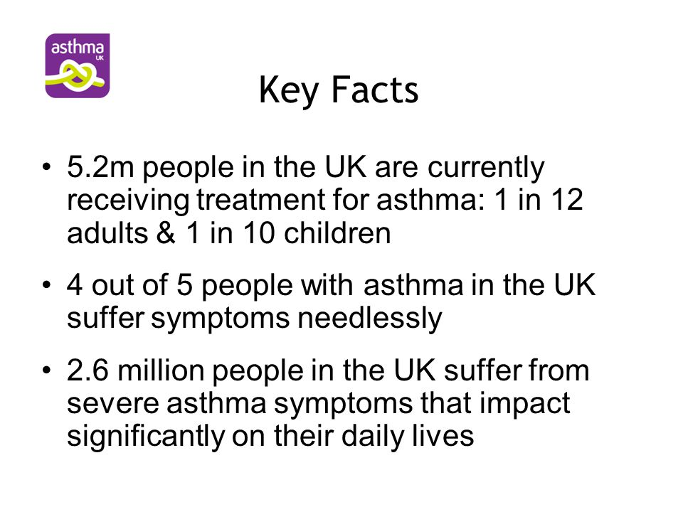 Key Facts On average there are around 200 hospital admissions for asthma per day On average 4 people per day die from asthma The annual cost of asthma to the NHS is estimated at >£996 million Annual cost of asthma to society is £2.3bn