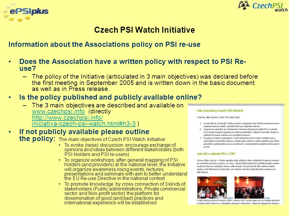 Information about the Associations policy on PSI re-use Does the Association have a written policy with respect to PSI Re- use.