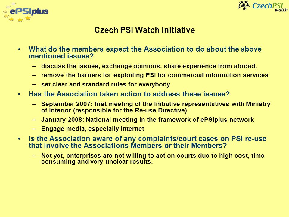 Information about the concerns of the Associations members on PSI re-use In the view of the Association - who within the membership or the Members membership is considered to be a PSI Re-use champion.