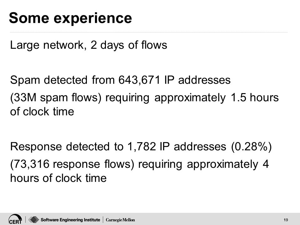 19 Some experience Large network, 2 days of flows Spam detected from 643,671 IP addresses (33M spam flows) requiring approximately 1.5 hours of clock time Response detected to 1,782 IP addresses (0.28%) (73,316 response flows) requiring approximately 4 hours of clock time