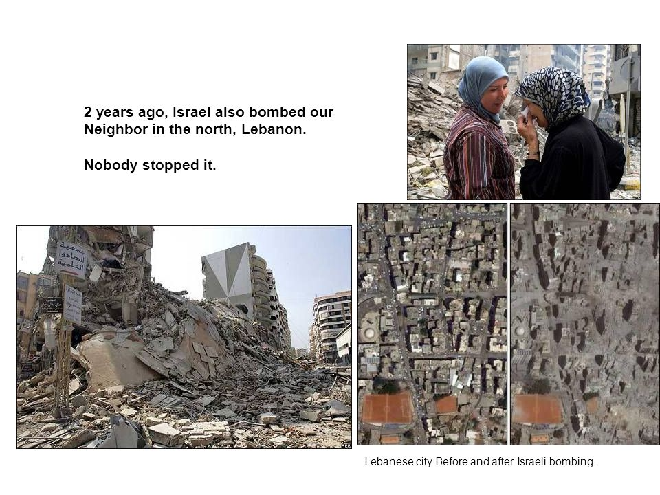 Lebanese city Before and after Israeli bombing.