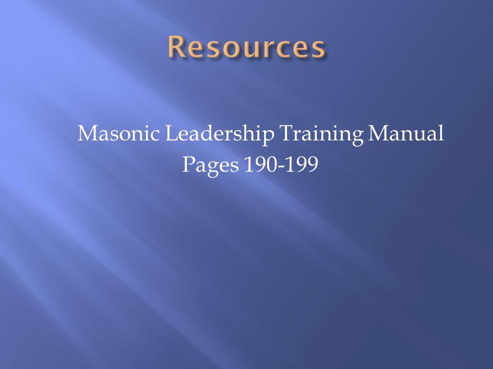 Masonic Leadership Training Manual Pages 190-199