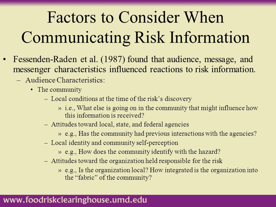 Factors to Consider When Communicating Risk Information Fessenden-Raden et al.