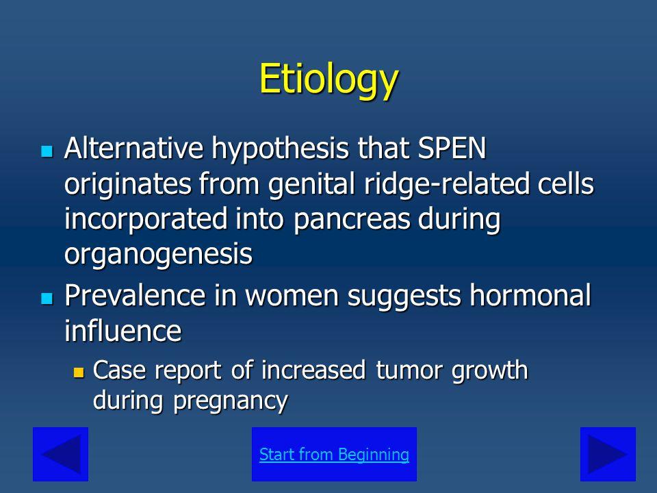 Start from BeginningEtiology Alternative hypothesis that SPEN originates from genital ridge-related cells incorporated into pancreas during organogene