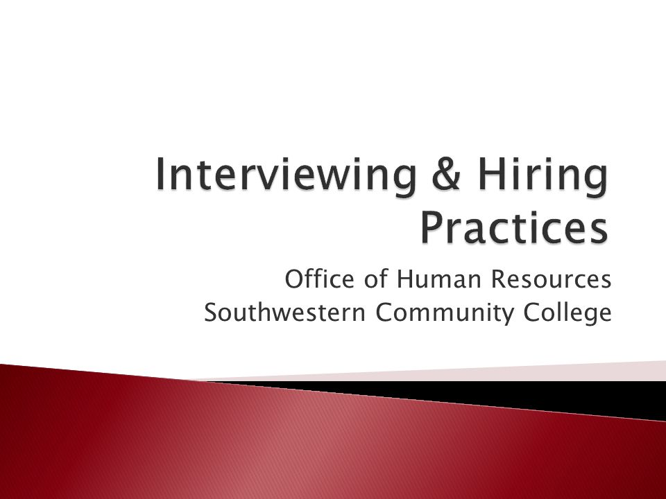 Office of Human Resources Southwestern Community College