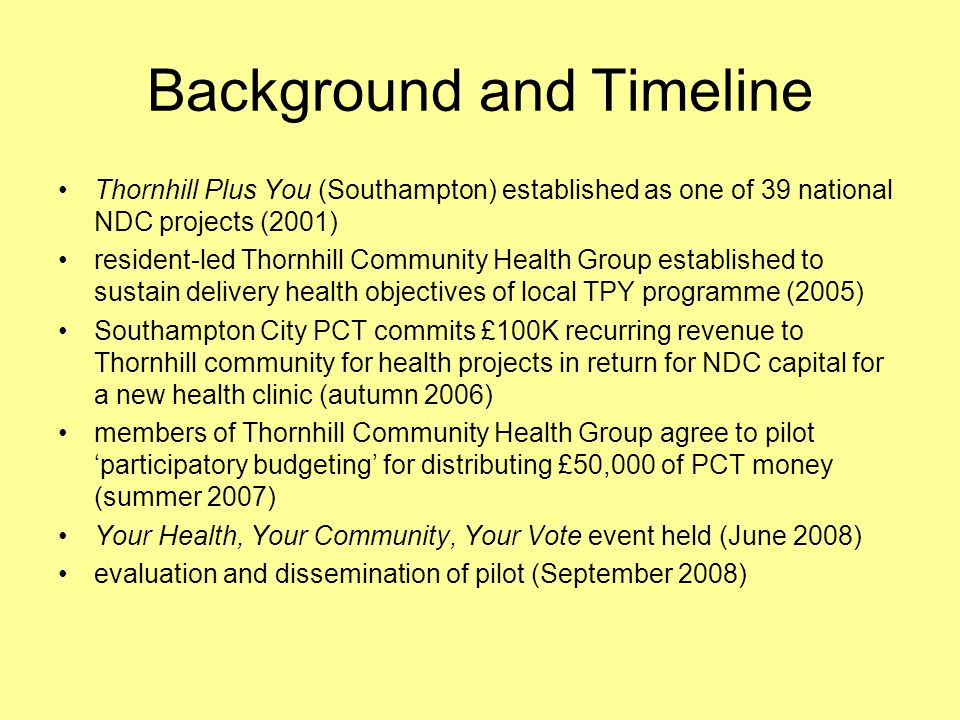 Background and Timeline Thornhill Plus You (Southampton) established as one of 39 national NDC projects (2001) resident-led Thornhill Community Health