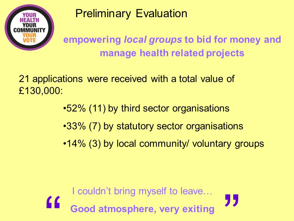 """"""" """" Preliminary Evaluation I couldn't bring myself to leave… Good atmosphere, very exiting empowering local groups to bid for money and manage health"""