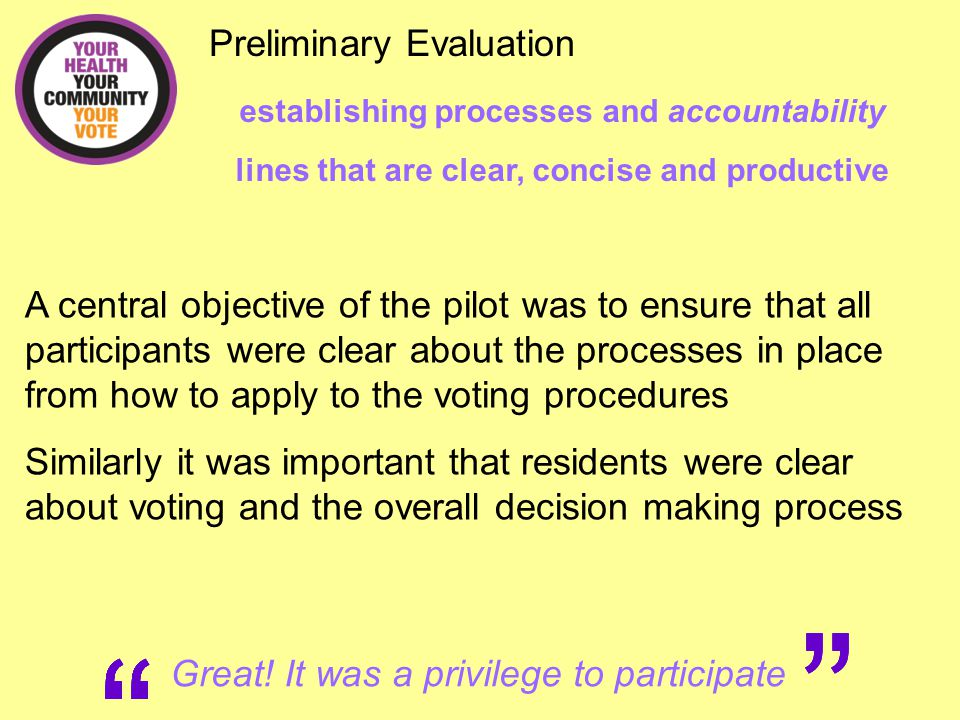 Preliminary Evaluation what worked well.