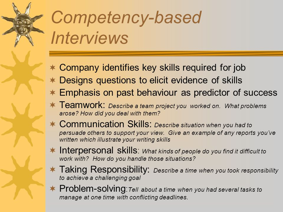 Competency-based Interviews  Company identifies key skills required for job  Designs questions to elicit evidence of skills  Emphasis on past behaviour as predictor of success  Teamwork: Describe a team project you worked on.