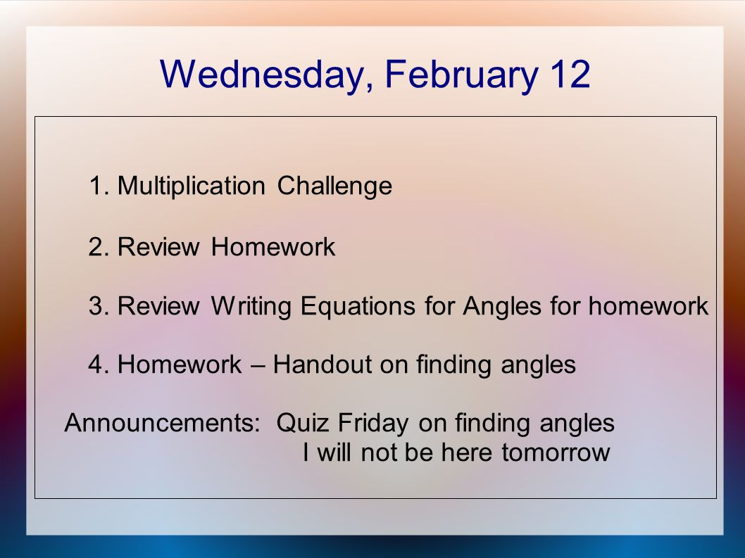 Wednesday, February Multiplication Challenge 2.