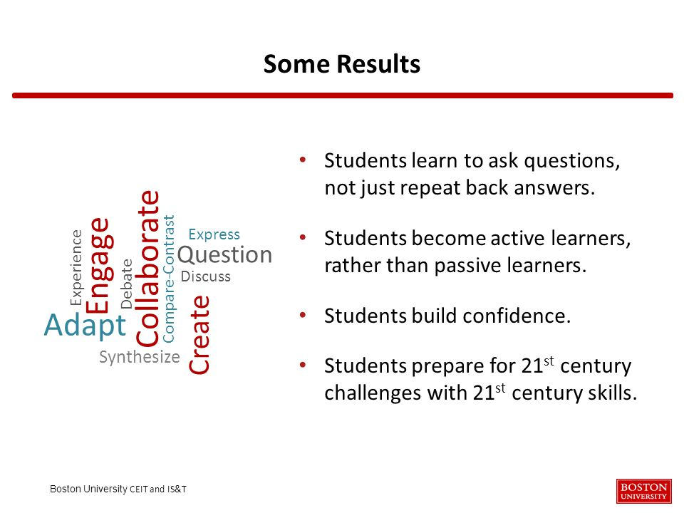 Boston University CEIT and IS&T Some Results Students learn to ask questions, not just repeat back answers.
