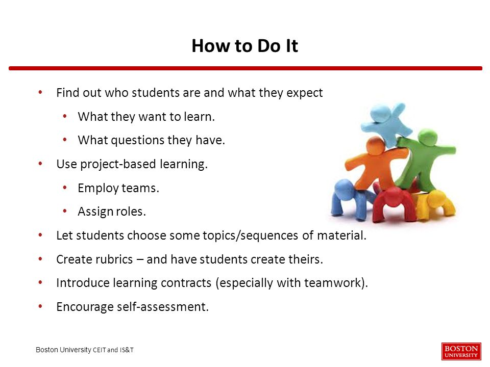 Boston University CEIT and IS&T How to Do It Find out who students are and what they expect What they want to learn.