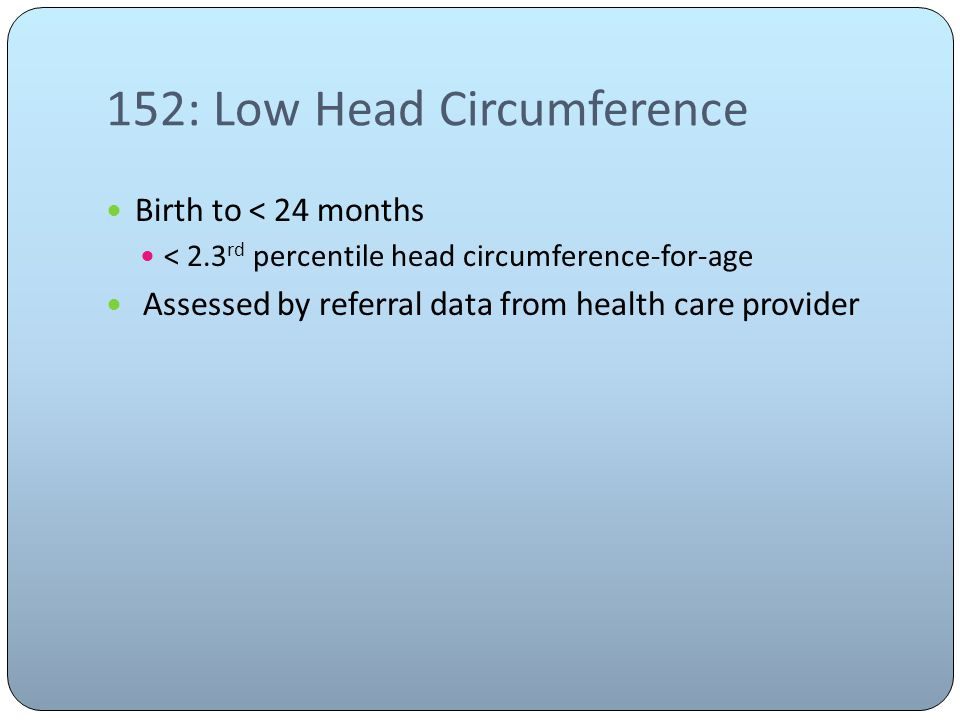 152: Low Head Circumference Birth to < 24 months < 2.3 rd percentile head circumference-for-age Assessed by referral data from health care provider