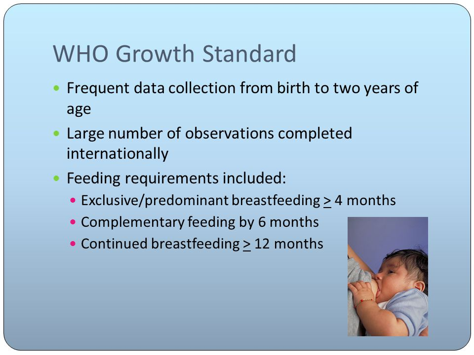 WHO Growth Standard Frequent data collection from birth to two years of age Large number of observations completed internationally Feeding requirements included: Exclusive/predominant breastfeeding > 4 months Complementary feeding by 6 months Continued breastfeeding > 12 months