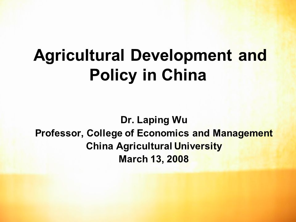 2 Outline Basic data and facts on agricultural sector in China Agricultural production and trade of China Current agricultural policy New orientation of agricultural policy in China