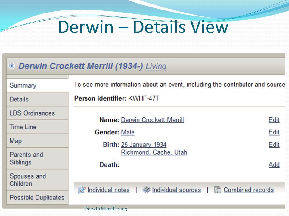 Derwin – Details View Derwin Merrill 2009