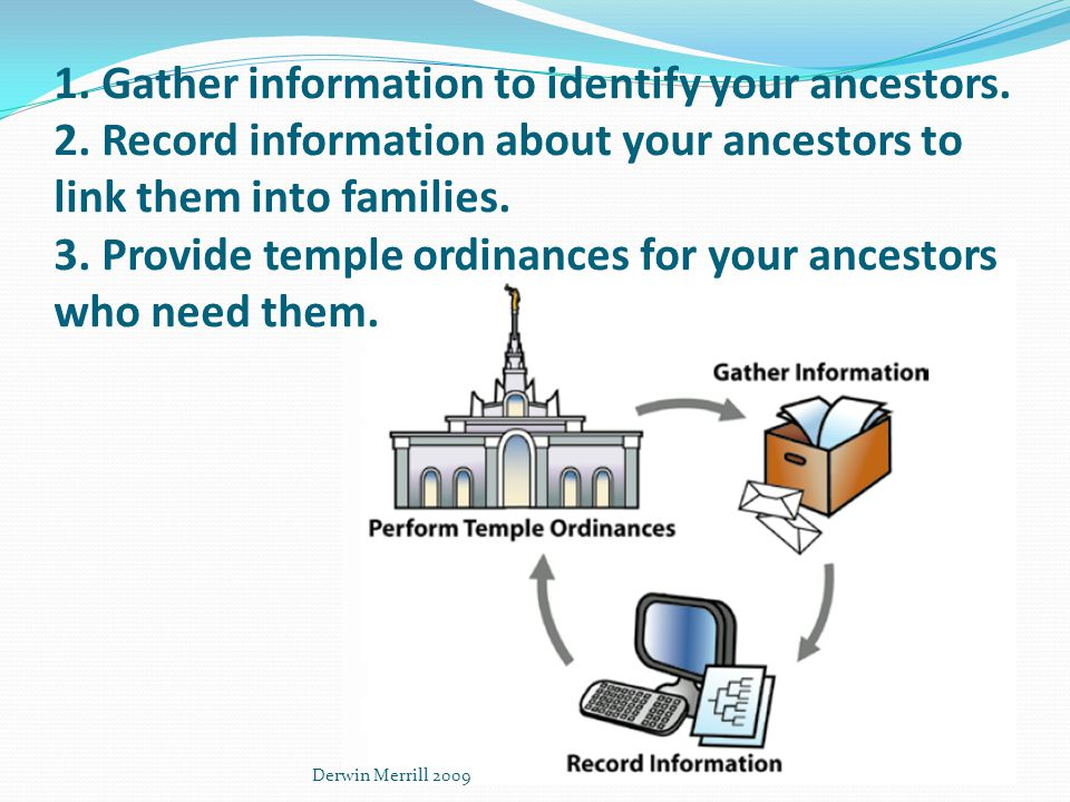 1. Gather information to identify your ancestors.