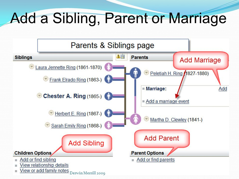 Add a Sibling, Parent or Marriage Derwin Merrill 2009