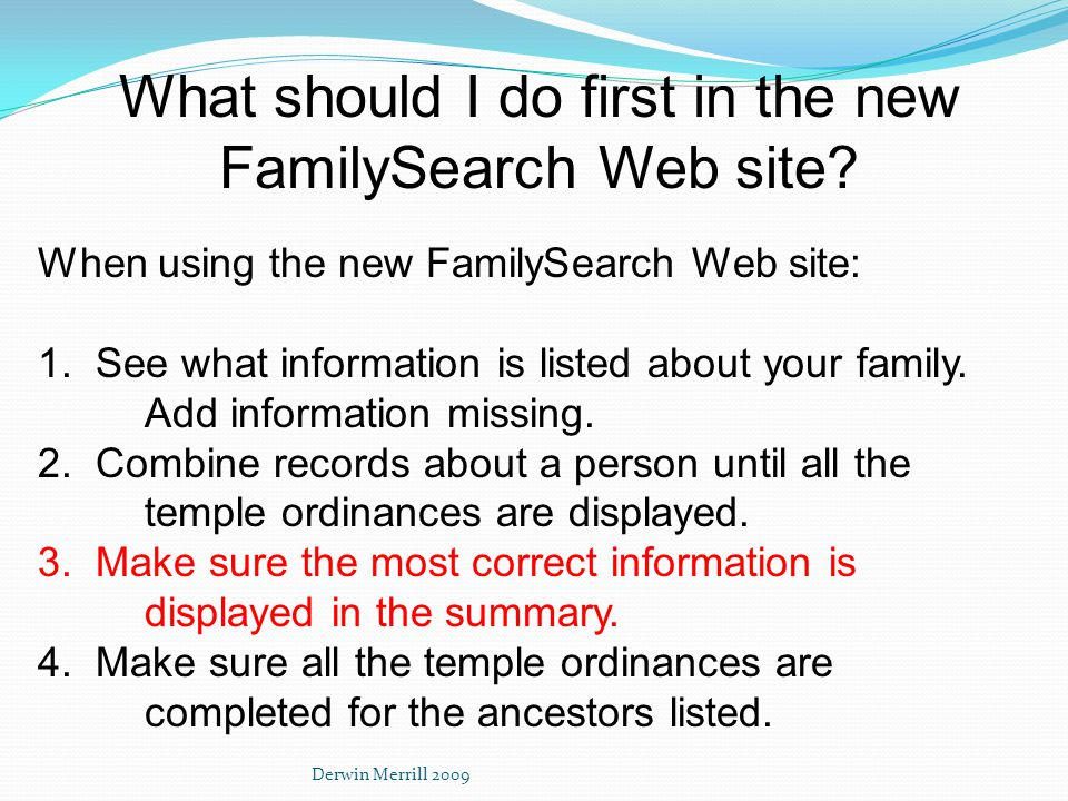 What should I do first in the new FamilySearch Web site.