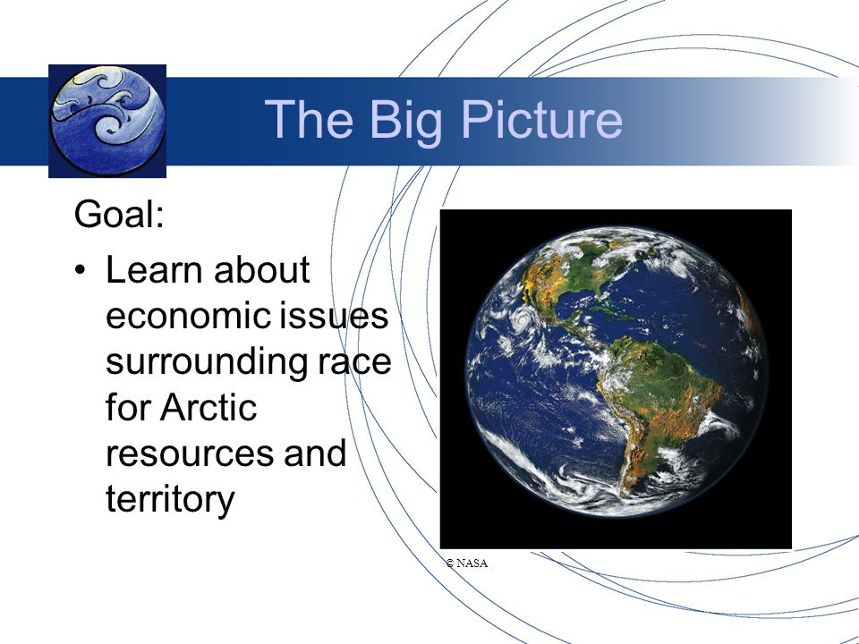 The Big Picture Goal: Learn about economic issues surrounding race for Arctic resources and territory © NASA