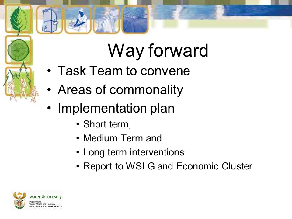 Way forward Task Team to convene Areas of commonality Implementation plan Short term, Medium Term and Long term interventions Report to WSLG and Economic Cluster