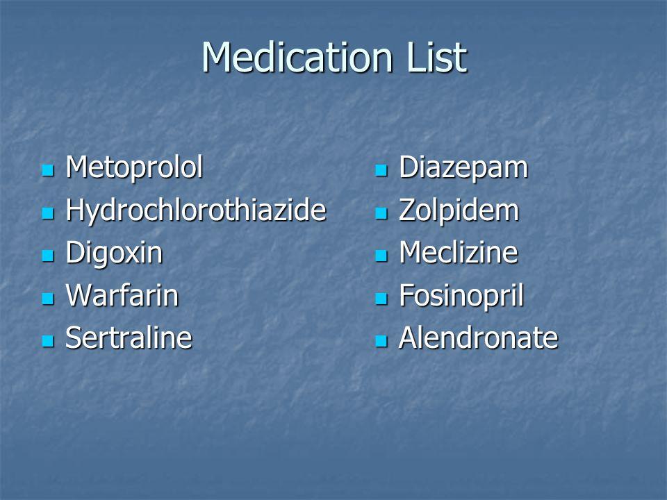 Medication List Metoprolol Metoprolol Hydrochlorothiazide Hydrochlorothiazide Digoxin Digoxin Warfarin Warfarin Sertraline Sertraline Diazepam Diazepam Zolpidem Zolpidem Meclizine Meclizine Fosinopril Fosinopril Alendronate Alendronate