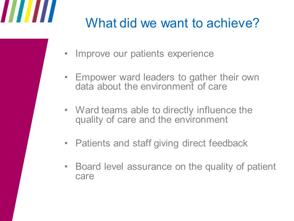What did we want to achieve? Improve our patients experience Empower ward leaders to gather their own data about the environment of care Ward teams ab
