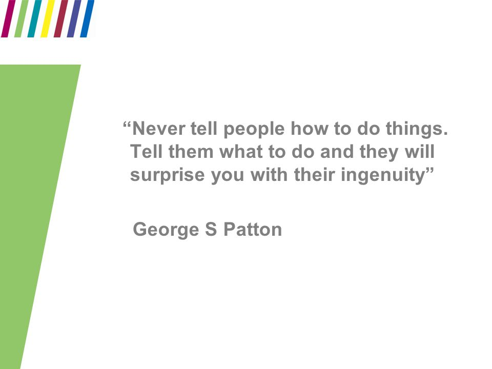 """Never tell people how to do things. Tell them what to do and they will surprise you with their ingenuity"" George S Patton"
