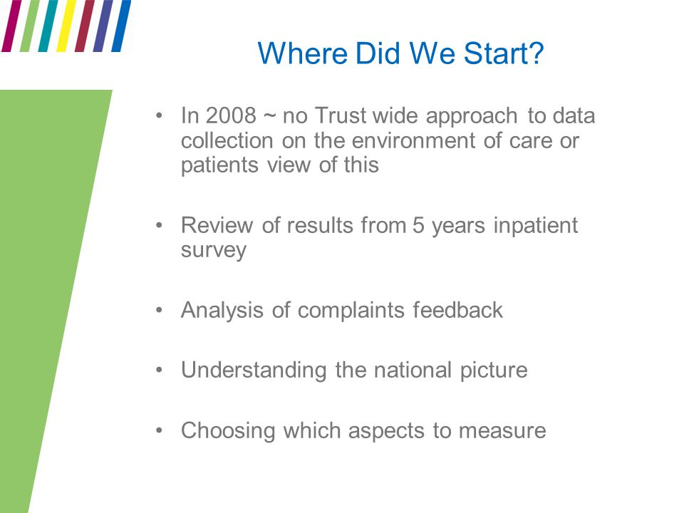 Where Did We Start? In 2008 ~ no Trust wide approach to data collection on the environment of care or patients view of this Review of results from 5 y