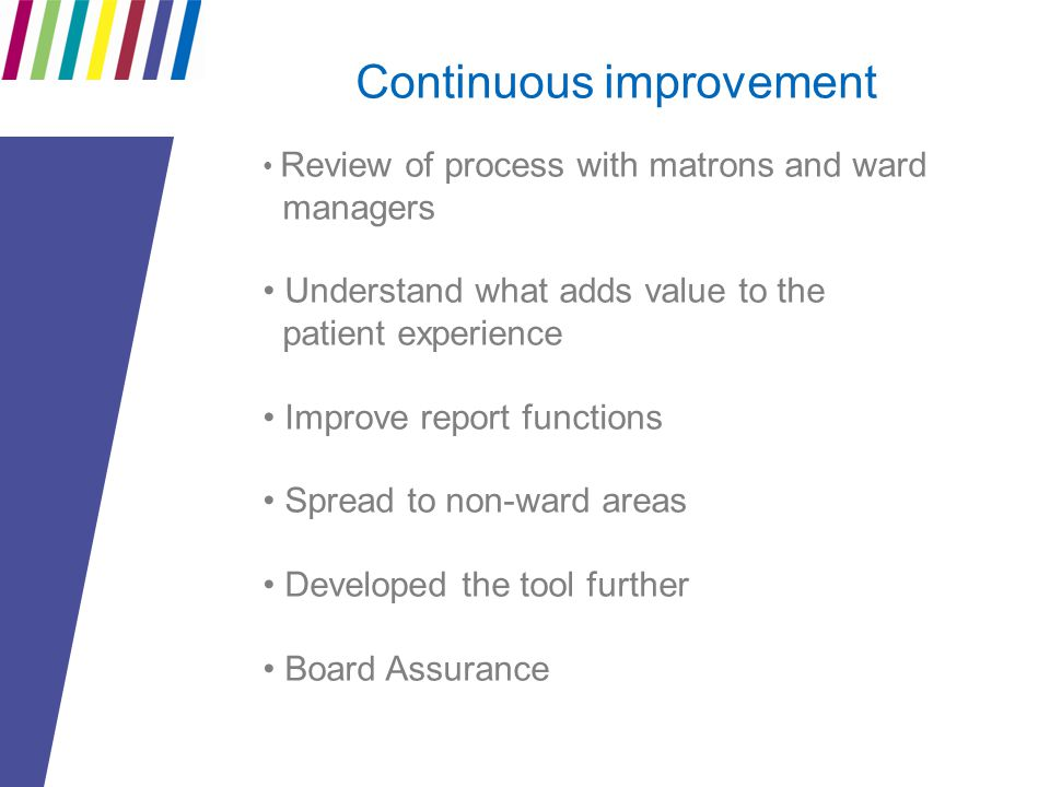 Continuous improvement Review of process with matrons and ward managers Understand what adds value to the patient experience Improve report functions Spread to non-ward areas Developed the tool further Board Assurance