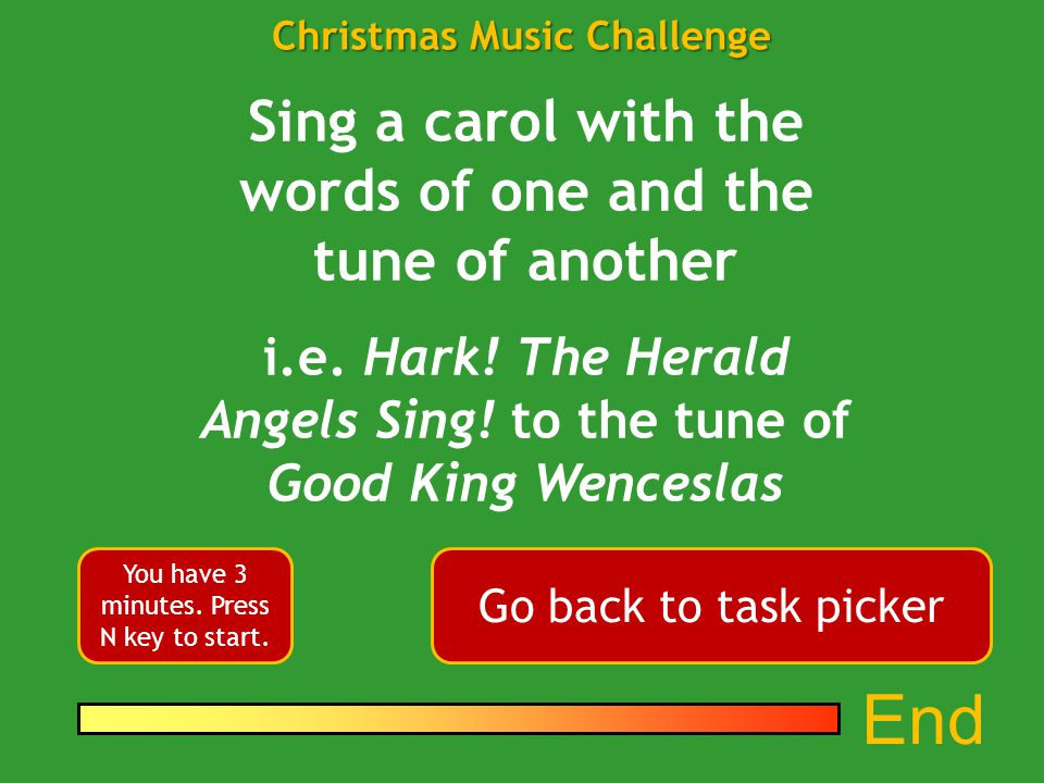 1 4 3 6 7 5 2 Christmas Music Challenge