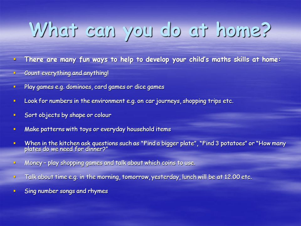 What can you do at home.