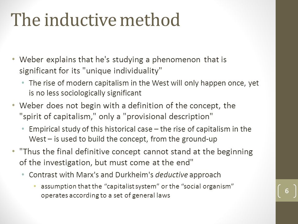 The inductive method Weber explains that he's studying a phenomenon that is significant for its