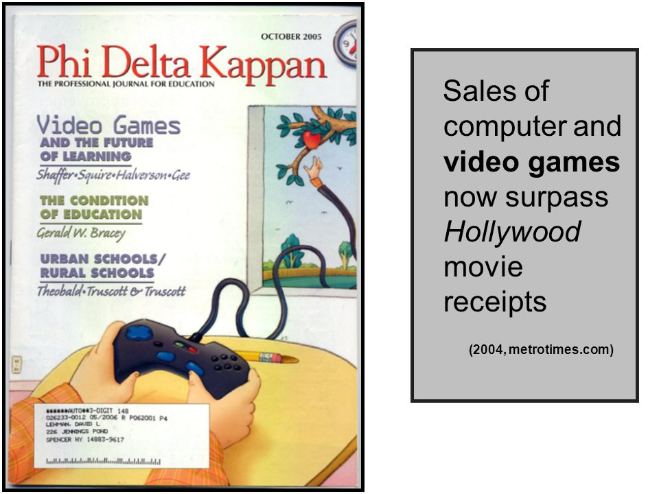 Sales of computer and video games now surpass Hollywood movie receipts (2004, metrotimes.com)