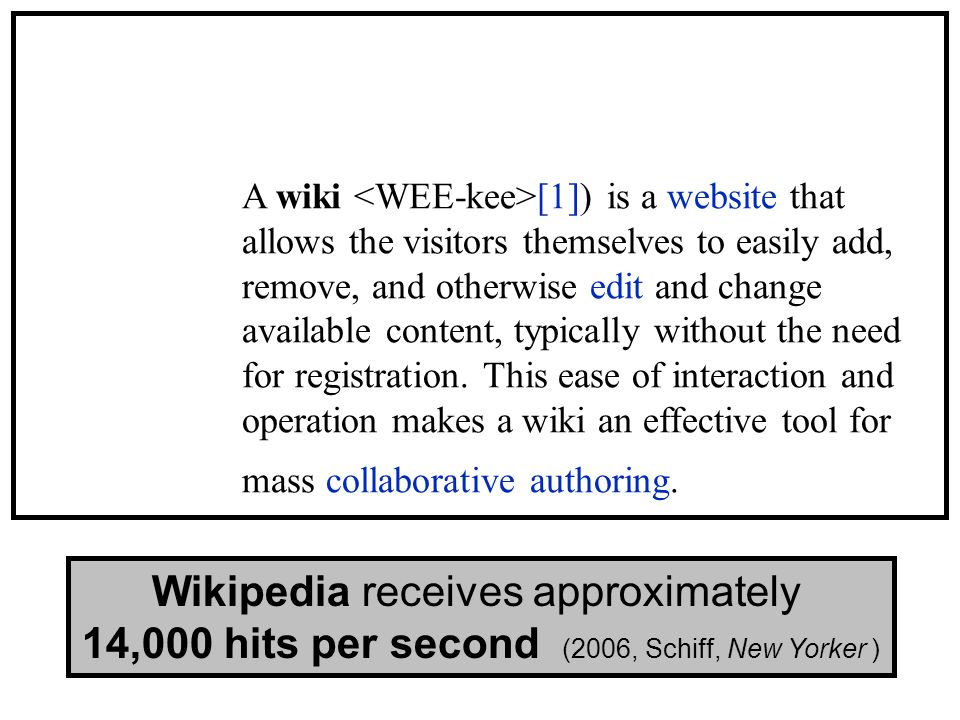 A wiki [1]) is a website that allows the visitors themselves to easily add, remove, and otherwise edit and change available content, typically without