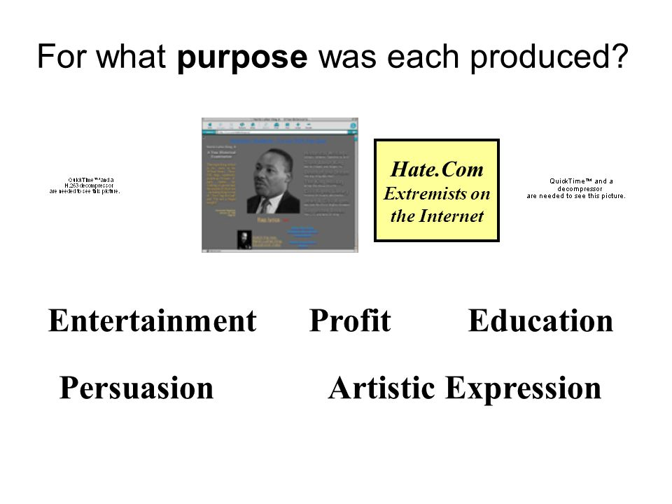 For what purpose was each produced? Entertainment Profit Education PersuasionArtistic Expression Hate.Com Extremists on the Internet