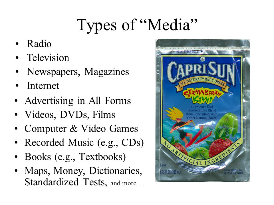 "Types of ""Media"" Advertising in All Forms Videos, DVDs, Films Computer & Video Games Recorded Music (e.g., CDs) Books (e.g., Textbooks) Maps, Money, D"