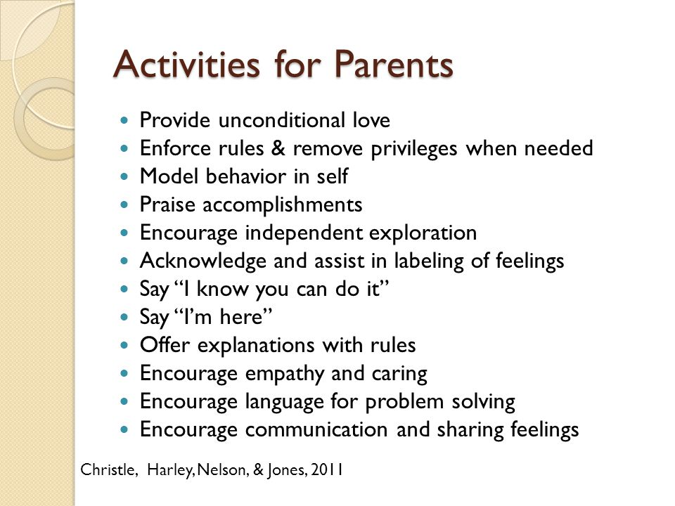 Activities for Parents Provide unconditional love Enforce rules & remove privileges when needed Model behavior in self Praise accomplishments Encourag
