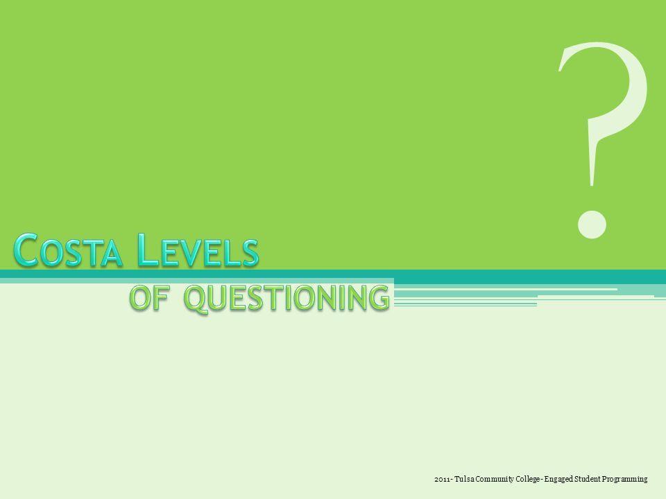 Level 1 – Define Level 2 – Analyze Level 3 – Apply 2011- Tulsa Community College- Engaged Student Programming
