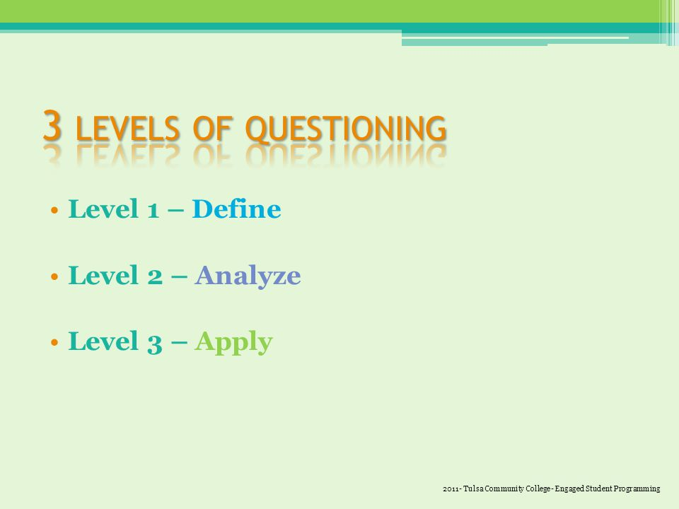 Level 1 – Define Level 2 – Analyze Level 3 – Apply 2011- Tulsa Community College- Engaged Student Programming