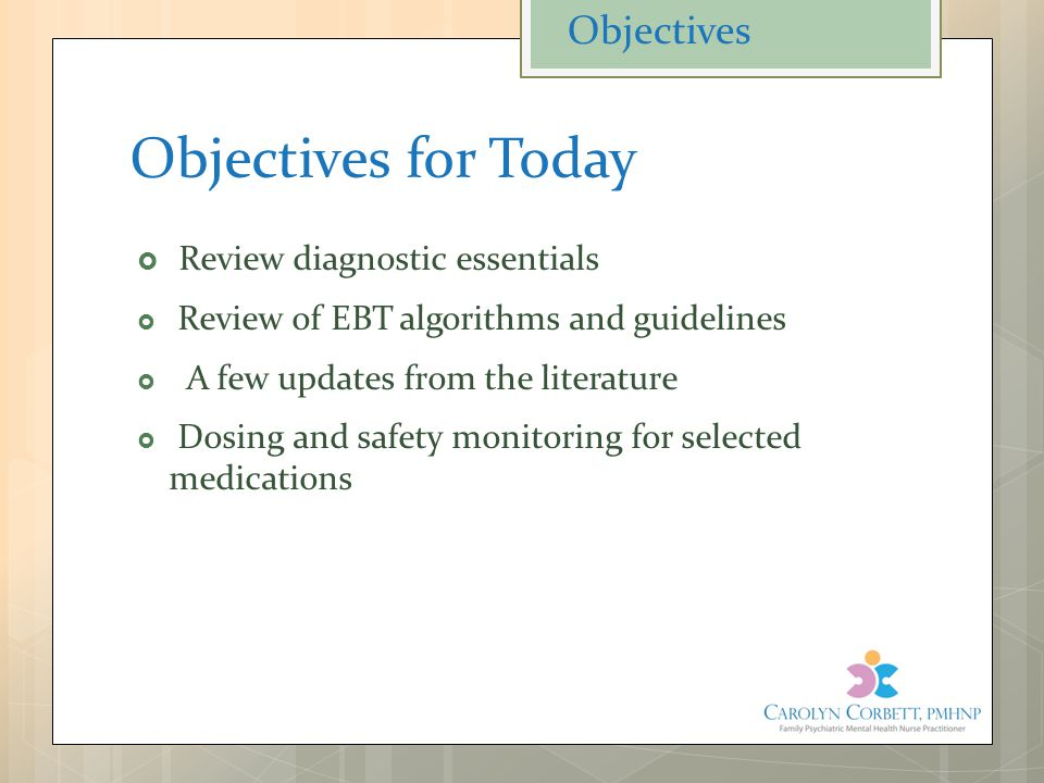 Objectives for Today  Review diagnostic essentials  Review of EBT algorithms and guidelines  A few updates from the literature  Dosing and safety