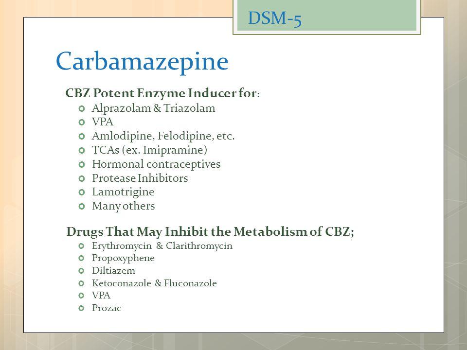 Carbamazepine CBZ Potent Enzyme Inducer for :  Alprazolam & Triazolam  VPA  Amlodipine, Felodipine, etc.