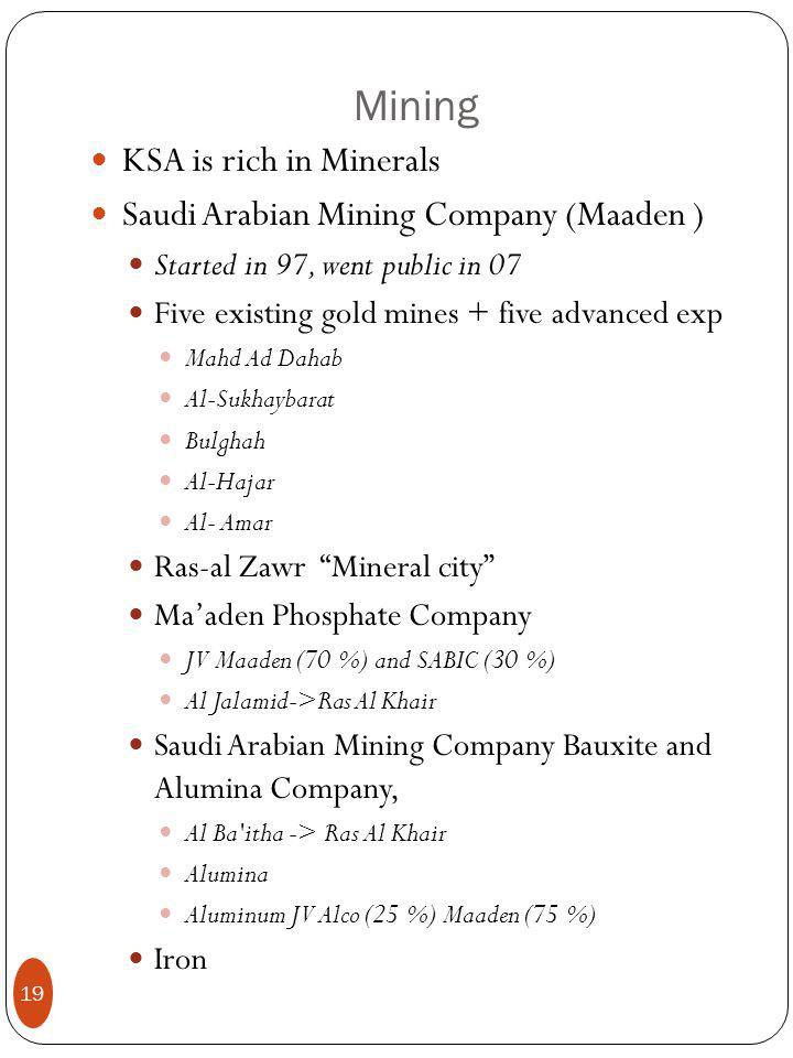 Mining KSA is rich in Minerals Saudi Arabian Mining Company (Maaden ) Started in 97, went public in 07 Five existing gold mines + five advanced exp Mahd Ad Dahab Al-Sukhaybarat Bulghah Al-Hajar Al- Amar Ras-al Zawr Mineral city Ma'aden Phosphate Company JV Maaden (70 %) and SABIC (30 %) Al Jalamid->Ras Al Khair Saudi Arabian Mining Company Bauxite and Alumina Company, Al Ba itha -> Ras Al Khair Alumina Aluminum JV Alco (25 %) Maaden (75 %) Iron 19
