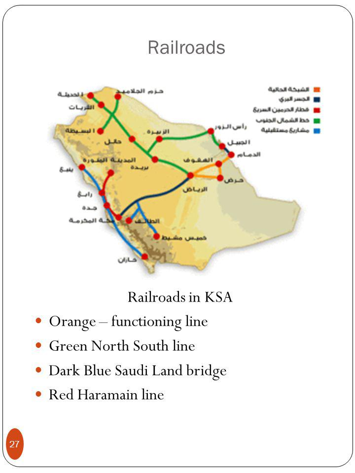 Railroads Railroads in KSA Orange – functioning line Green North South line Dark Blue Saudi Land bridge Red Haramain line 27
