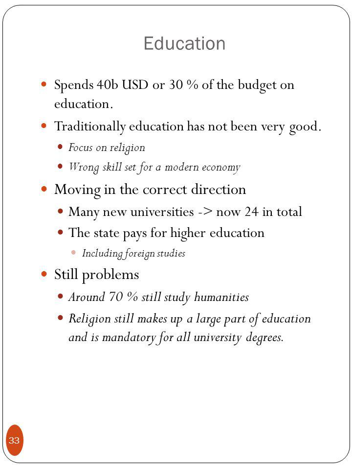 Education Spends 40b USD or 30 % of the budget on education.