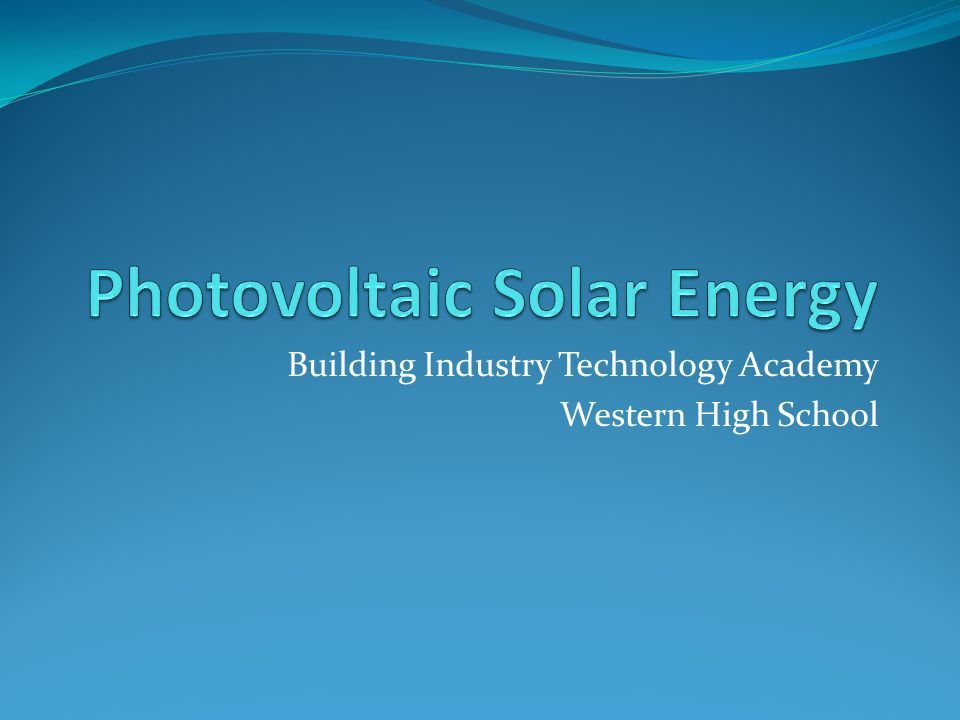 Building Industry Technology Academy Western High School