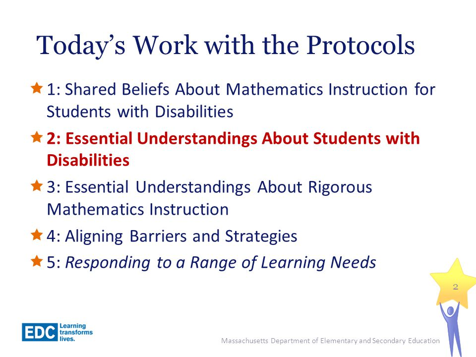 Protocol 2 Goals  To identify and discuss the demands, difficulties and needs of students with disabilities as learners of mathematics;  To better understand how to use an IEP as a tool to inform mathematics instruction for a student with disabilities.