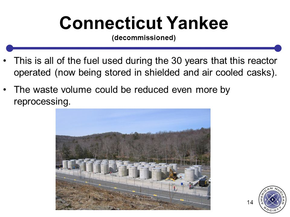 Connecticut Yankee (decommissioned) This is all of the fuel used during the 30 years that this reactor operated (now being stored in shielded and air