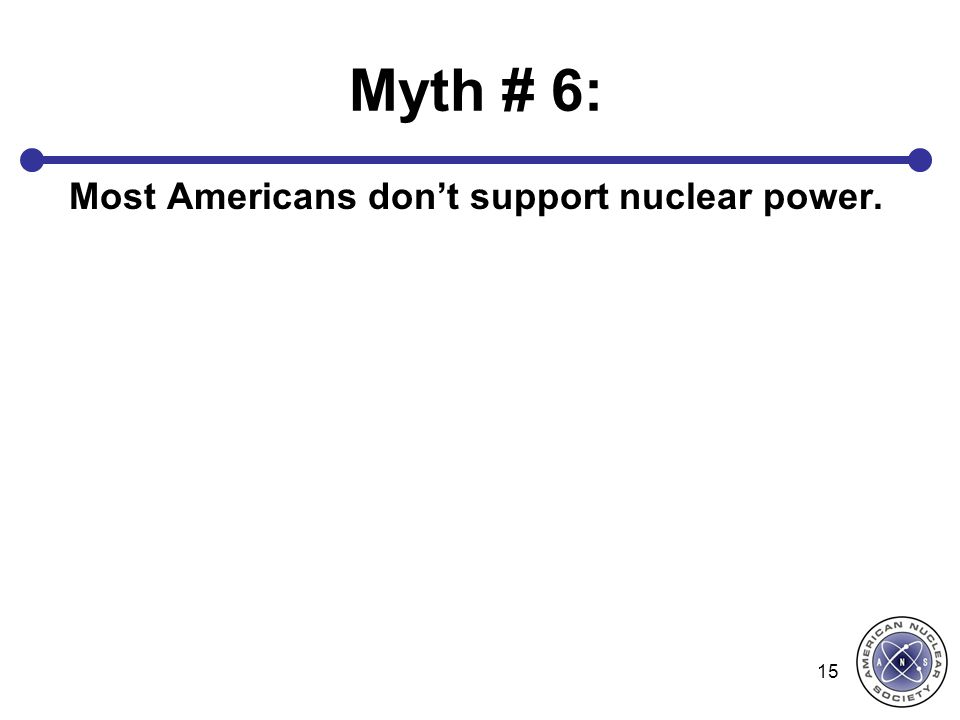 Myth # 6: Most Americans don't support nuclear power. 15