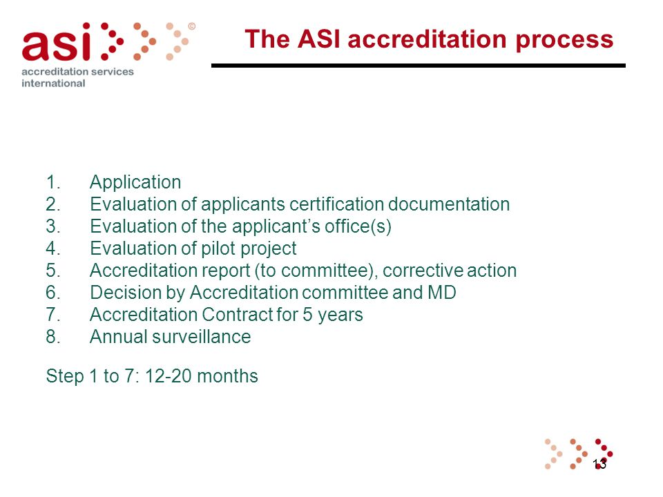 13 The ASI accreditation process 1.Application 2.Evaluation of applicants certification documentation 3.Evaluation of the applicant's office(s) 4.Evaluation of pilot project 5.Accreditation report (to committee), corrective action 6.Decision by Accreditation committee and MD 7.Accreditation Contract for 5 years 8.Annual surveillance Step 1 to 7: 12-20 months